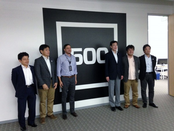 Mayor Hisamoto (3rd from right) and members of the Kobe delegation stand with Zafer Younis, a Venture Partner at 500 Startups