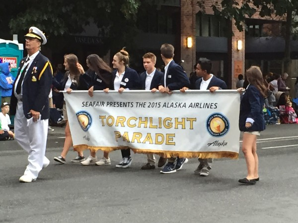 A photo of the beginning of the Seafair Torchlight Parade