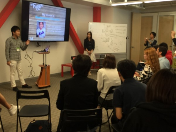 One of the five finalists in the competition to pitch an idea presents at 500 Startups.