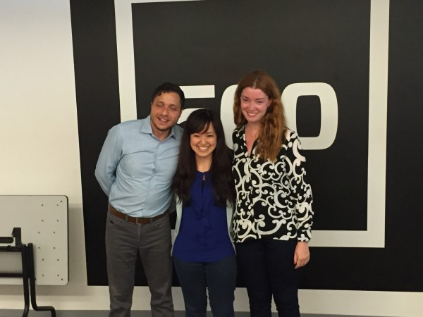 Zafer Younis (left) and Diana Moldavsky (right) of 500 Startups pose for a photo with the winning participant from Japan, Mami Takesada.