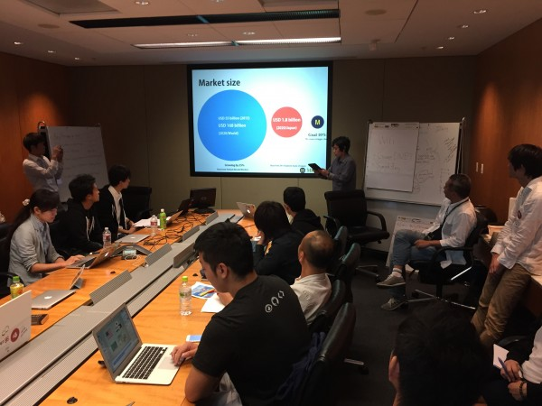 Participants from Japan prepare their individual pitchces before presenting ideas at 500 Startups.